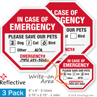 In Case Of Emergency Please Save Our Pets Label Set