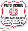 Alert Pets Inside Please Save Our Pets Shield Sign
