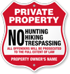 No Hunting Trespassing Custom Private Property Shield Sign
