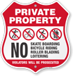 No Skateboard Bicycle Riding Private Property Shield Sign