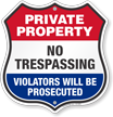 No Trespassing Private Property Shield Sign
