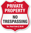 Texas Private Property Shield Sign