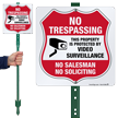 Video Surveillance No Soliciting LawnBoss Sign