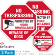 Beware Of Dogs No Trespassing Label Set