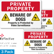 Beware Of Dogs Video Surveillance Private Property Label Set