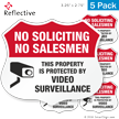 Video Surveillance No Soliciting Shield Label Set