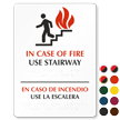 Bilingual In Case of Fire Use Stairway Sign