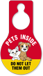 Pets Inside Plastic Door Hang Tag